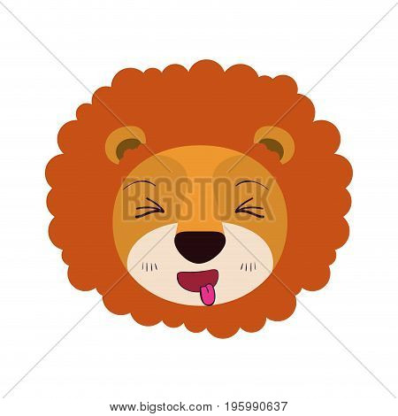 colorful caricature cute face of lion sticking out tongue expression with mane vector illustration