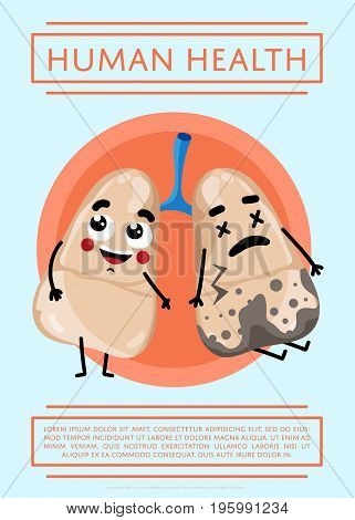 Human health poster with sick and healthy lung cartoon character. Medical treatment vector illustration. Human professional medicine, emergency medical service, healthcare science infographics.