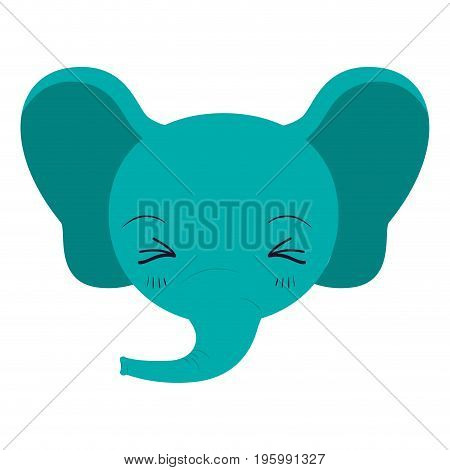 colorful caricature cute face of elephant eyes closed and happiness expression vector illustration