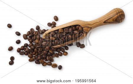 Coffee beans and wooden scoop composition isolated on white background