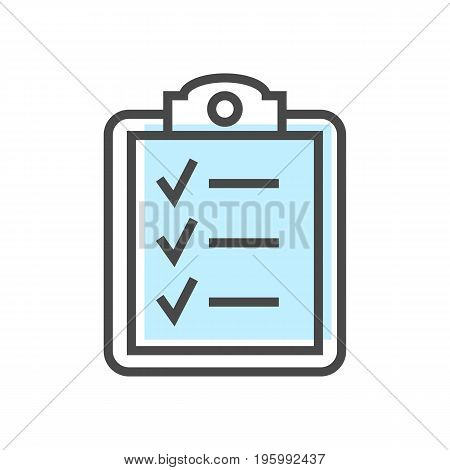 Artificial intelligence icon with checklist symbol. Modern cyber linear pictogram, smart new technologies and innovation isolated vector illustration