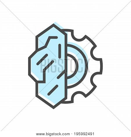 Artificial intelligence icon with brain sign. Modern cyber linear pictogram, smart new technologies and innovation isolated vector illustration