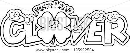 Cartoon Four Leaf Clover Text