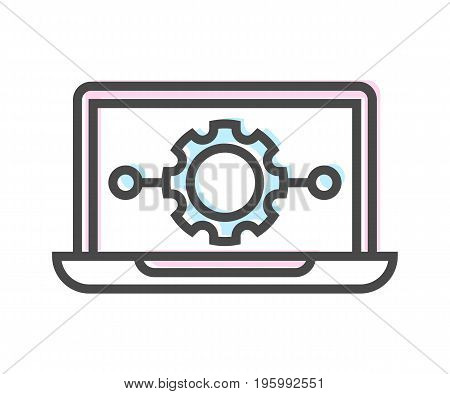 Artificial intelligence icon with laptop symbol. Modern cyber linear pictogram, smart new technologies and innovation isolated vector illustration