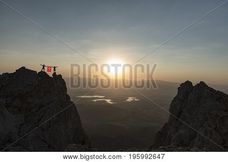 Exhibit turkish flag at peak & success