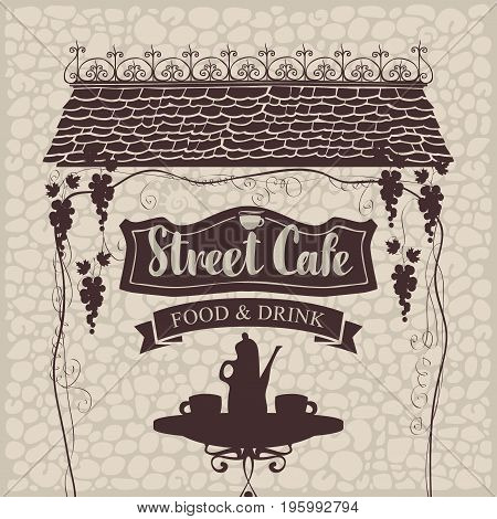 Vector banner for street cafe with table and hot tea the old roof and grapes on a stone wall background in retro style