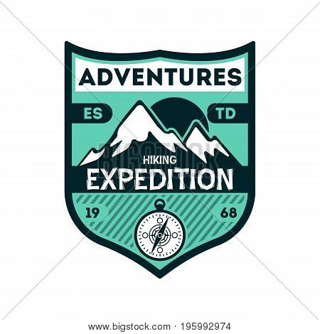 Adventures expedition vintage isolated badge. Outdoor hiking symbol, mountain and forest explorer, touristic extreme trip label vector illustration
