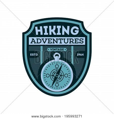 Nature hiking vintage isolated badge. Outdoor expedition symbol, mountain and forest explorer, touristic extreme trip label vector illustration