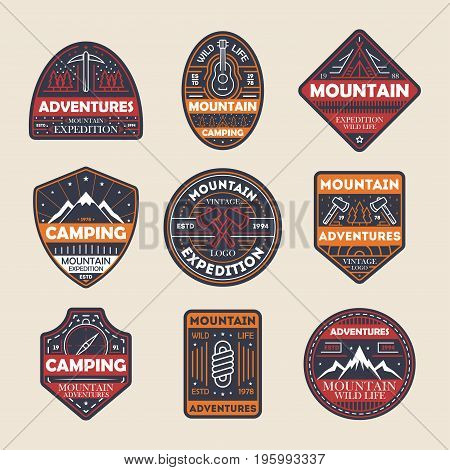 Mountain adventures vintage isolated label set. Outdoor hiking expedition symbol, extreme forest explorer, touristic camping badge, nature wildlife logo. People travel activity vector illustration