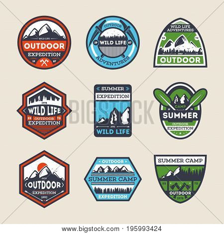 Outdoor expedition vintage isolated label set. Summer camp symbol, mountain and forest explorer, touristic camping badge, nature wildlife logo. People extreme travel activity vector illustration.
