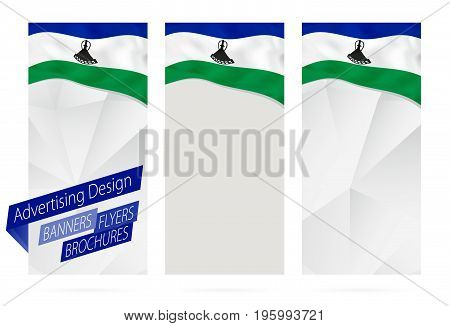 Design Of Banners, Flyers, Brochures With Flag Of Lesotho.