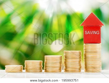 Red model house put on collect coins with fresh green nature blurred background in the morning
