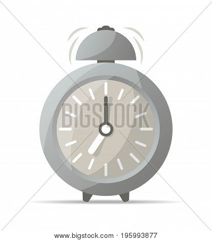 Gray retro alarm clock with bell icon. Mechanical time chronometer, analog watch isolated vector illustration in flat style.