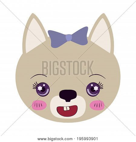 colorful caricature face of female cat animal cute expression vector illustration