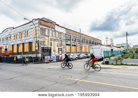Montreal, Canada - May 27, 2017: Building Under Construction In Little Italy Plateau Region In City