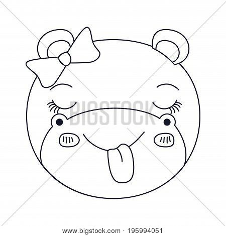 sketch silhouette caricature face of female hippo animal sticking out tongue expression vector illustration