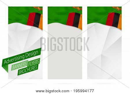 Design Of Banners, Flyers, Brochures With Flag Of Zambia.