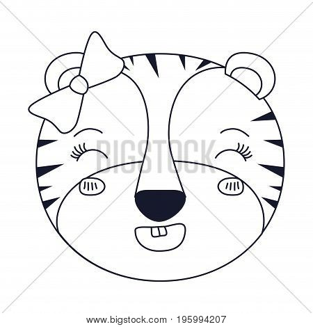 sketch silhouette caricature face of female tigress animal adorable expression happiness vector illustration