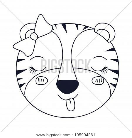 sketch silhouette caricature face of female tigress animal sticking out tongue expression vector illustration