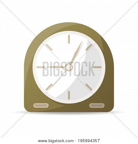 Vintage analog clock icon. Mechanical time chronometer, retro alarm clock isolated vector illustration in flat style.