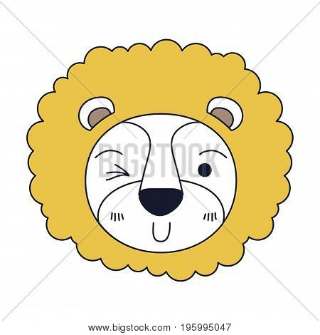 color sections of cute face of lion wink eye expression with mane vector illustration