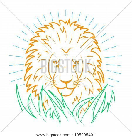 Icon Of A Lion In The Grass