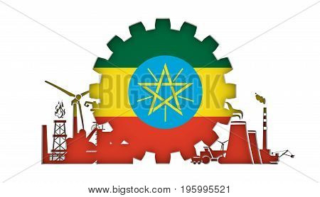 Energy and Power icons set with flag of the Ethiopia. Sustainable energy generation and heavy industry. 3D rendering.