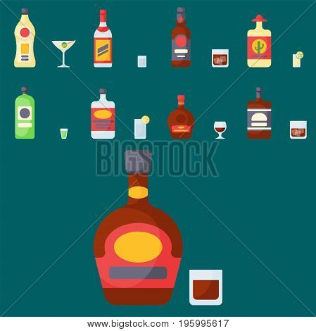 Alcohol drinks beverages cocktail whiskey bottle lager refreshment container and menu drunk concept different glasses vector illustration. Restaurant tequila rum party pub cognac.