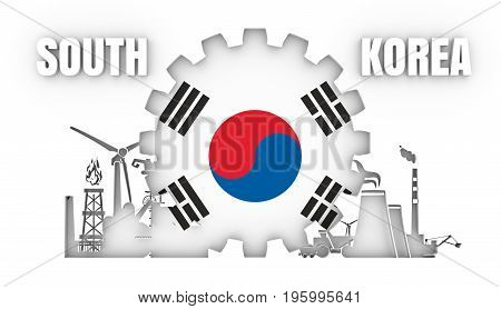 Energy and Power icons set with flag of the South Korea. Sustainable energy generation and heavy industry. 3D rendering.