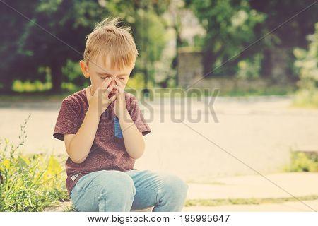 Little Kid Boy Crying On Summer Walk.