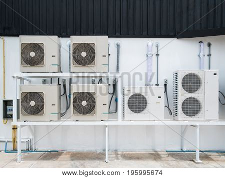 New air conditioner outdoor units outside of building