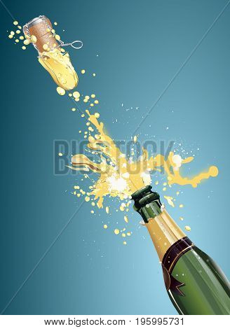 Shot a bottle of champagne, vector art illustration holiday.