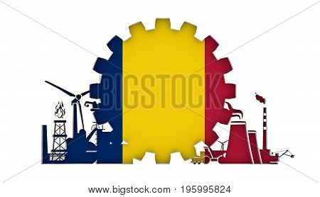 Energy and Power icons set with flag of the Chad. Sustainable energy generation and heavy industry. 3D rendering.