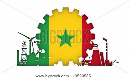 Energy and Power icons set with flag of the Senegal. Sustainable energy generation and heavy industry. 3D rendering.
