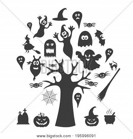 Black icons for Halloween. A tree with ghosts. Vector illustration.