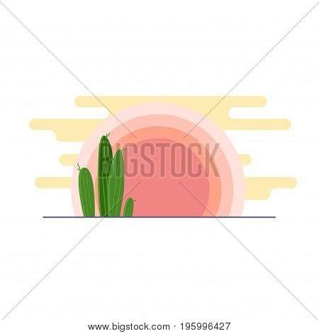 Day Desert Landscape With Cacti Under The Sun Flat Vector Illustration.