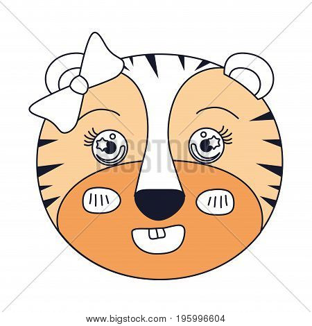 color sections of face of female tigress animal smiling expression with bow lace vector illustration