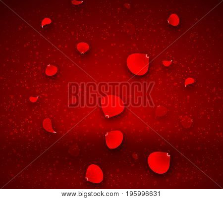 Falling red rose on an abstract background, vector art illustration.