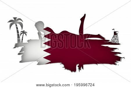 Young woman sunbathing on a beach. Cutout silhouette of the relaxing girl on a grunge brush stroke. Palm and lifeguard tower. Flag of the Qatar on backdrop. 3D rendering.