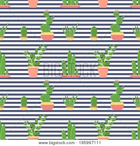 Seamless Pattern Of Cacti And Succulents In Pots. Flat Design Cactus Isolated On Striped Background.