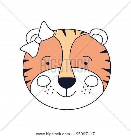 color sections of face female tigress animal happiness expression with bow lace vector illustration