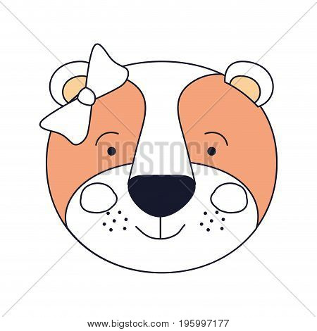 color sections of face female lioness animal happiness expression with bow lace vector illustration
