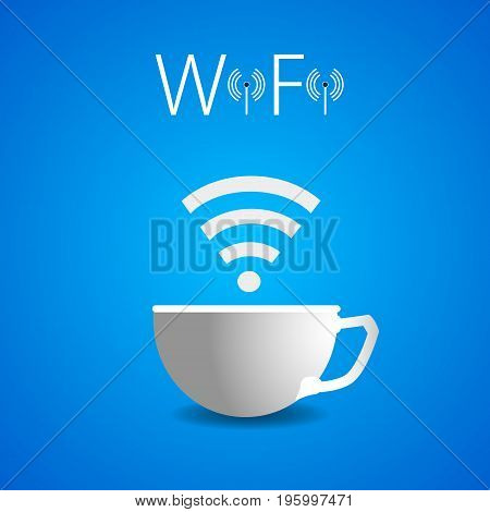 Wai Fai a cup of coffee, vector art illustration advertising Wi fi in the cafe.