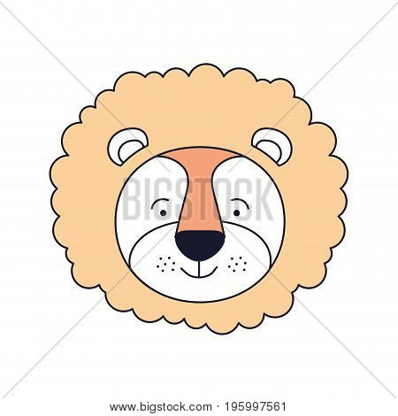 color sections face male lion animal happiness expression vector illustration