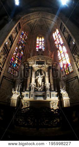 Duomo milan cathedral Pulpit, MILAN,ITALY - October 15, 2015: The beautiful design of statue inside Duomo di milano.