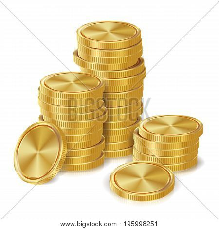 Gold Coins Stacks Vector. Golden Finance Icons, Sign, Success Banking Cash Symbol. Investment Concept. Realistic Currency Isolated