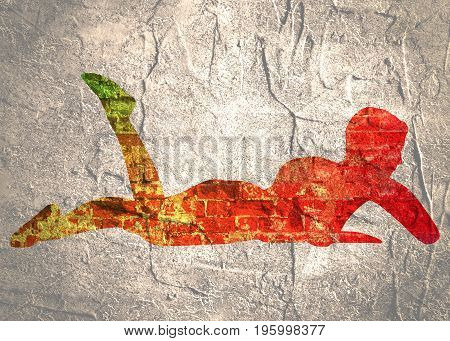 Illustration of a woman lying on the floor over a grey background. Relaxing pose ready for massage. Spa salon branding