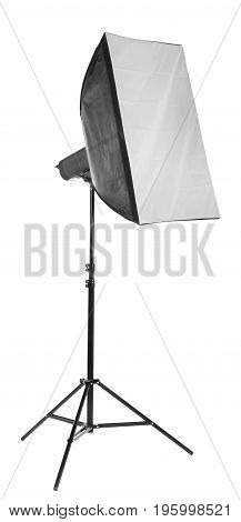 Trendy and new strip softbox, isolated on  white background. Professional studio light equipment and technology. Studio lighting.