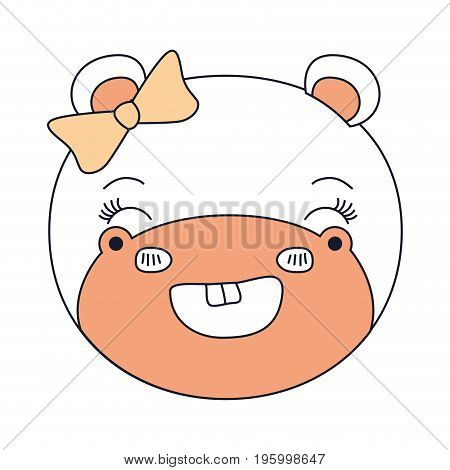 color sections face female hippo animal smile expression vector illustration