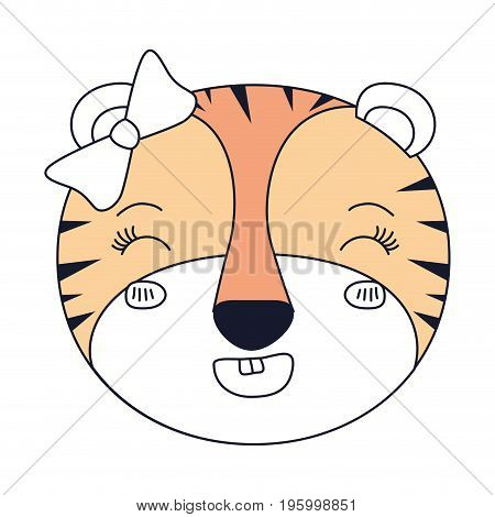 color sections face female tigress animal adorable expression happiness vector illustration poster